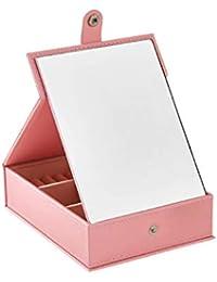 Rong jia Caja de joyería portátil de Cuero Plegable Maquillaje Espejo Dormitorio Dormitorio de Escritorio pequeña