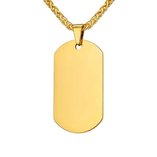 Custom4U Placa de Idendidad Collar de Acero Inoxidable Oro Amarillo Plateado Negro Enfermos Datos Emergencia