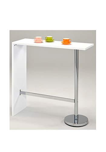 Meubletmoi, tavolo alto da bar, bancone, piano di lavoro, modello KOS,  colore: bianco - Mangia in piedi - Cucina.