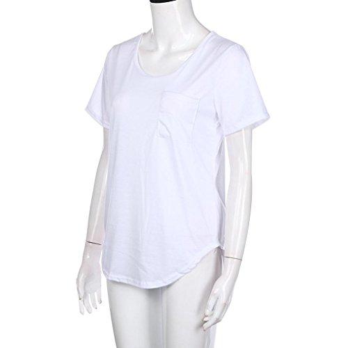 HARRYSTORE Frauen Mode Weisesommer Kurz-sleeved Beiläufiges T-Shirt für Fettes Mädchen Weiß