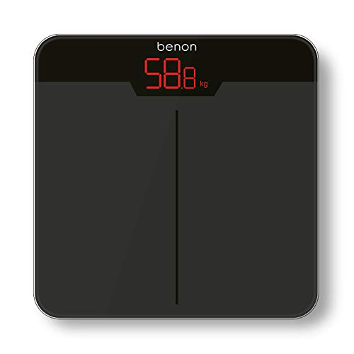 benon Personenwaage Digital Grau, Safety-Glas (30x30cm), 5kg-180kg, LED Display (kg lb st)
