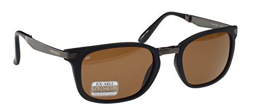 Serengeti Volare zusammenklappbar Sonnenbrille, Satin matt schwarz/gunmetal, braun Treiber Polarisiert Photochrom Glas Objektiv