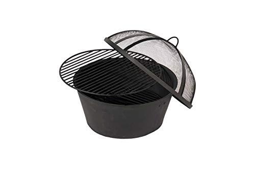 Hartman Jamie Oliver runder Tischgrill BZW. Eisbehälter aus hochwertigem Aluminium in grau, praktischer Grillrost aus Gusseisen, für den Grilltisch geeignet, Ø 42 cm, langlebig, korrosionsbeständig