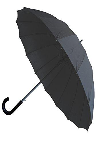 Collar and Cuffs London - 16 Rippen für Mehr Widerstandskraft - Sehr STARK - Dreifache Schicht Rahmen - Verstärkt mit Fiberglas - Automatik Stockschirm - Regenschirm - Windproof - Schwarz