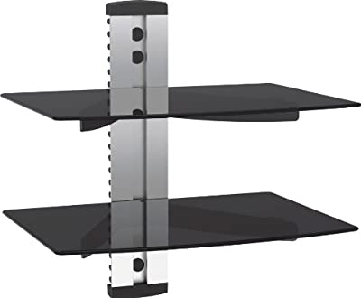 VonHaus Black/Silver Floating Shelf with Strengthened Tempered Glass for DVD Players/Cable Boxes/Games Consoles/TV Accessories | 1,2,3 shelf available - cheap UK light store.