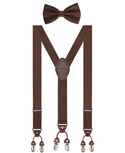 Herren Hosenträger Breit 6 Clips mit Leder in Y-Form / Extra Starken 35mm Elastisch und Längenverstellbar in Verschiedenen Farben Designs für Männer und Damen Hose, Braun Fliege, Gr. one size