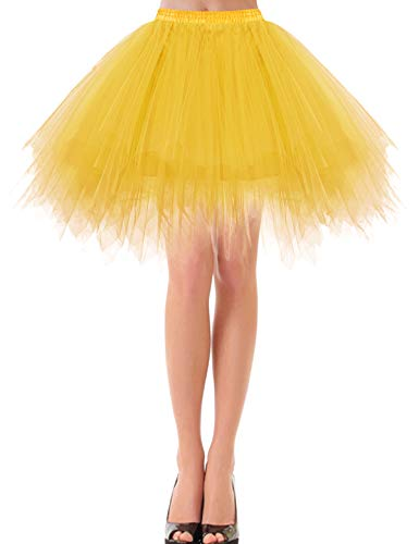 bbonlinedress Kurz Retro Petticoat Rock Ballett Blase 50er Tutu Unterrock Dark Yellow XL