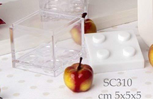 12 pz scatola plexiglass portaconfetti lego bianca bomboniera comunione cresima