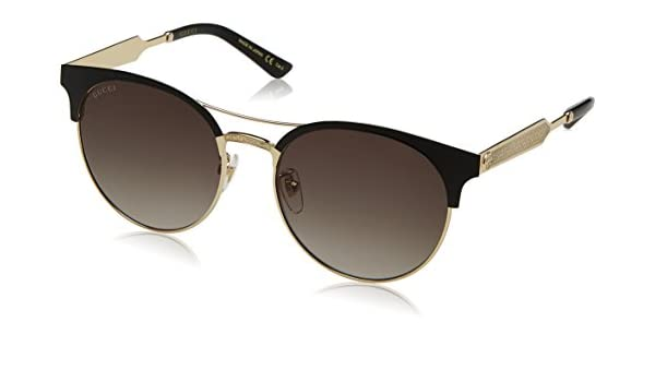 Gucci Damen Sonnenbrille GG0075S 003, Gold (Gold/Green), 56