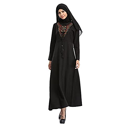 Deylaying musulman Femmes Broderie islamique Turkey Malaysia Manche longue Kaftan Vêtements ethniques Arab Dubai Maxi Dress Mariage Cocktail Gown Loose Robe Abaya