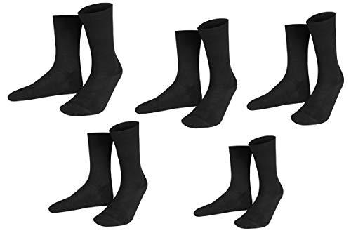 Pournara Business Comfort Socken - Anzugsocken - extra breiter Komfort-Bund für Problemfüße -bequem ohne drückende Naht - 220 Strickdichte (42/43 - Komfort - 5er, Schwarz - Komfort - 5er) - ägyptische Komfort