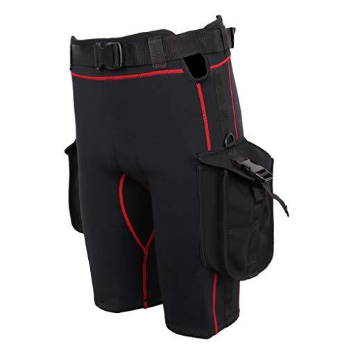 MagiDeal Herren Rash Guard Neoprenanzug Shorts mit Beintaschen Wasser Shorts Neopren Hose Pants Neoprenhose Wetsuit Badehose Schwimmhose - Schwarz, 4XL