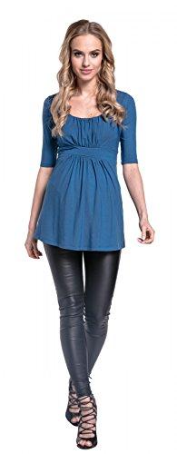 Happy Mama. Femme Top de Maternité Tissu Stretch Taille empire Demi Manche. 667p Bleu Jeans
