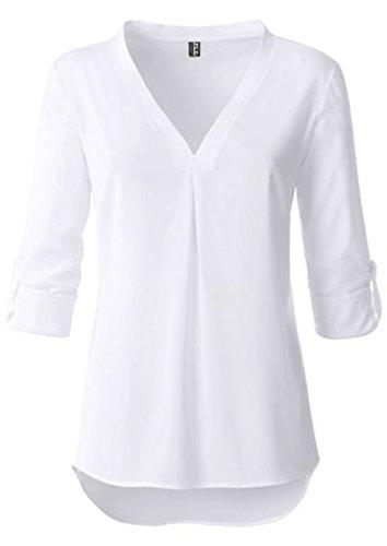 5da1203afd6349 Fleasee Damen Einfarbig Chiffon Bluse V-Ausschnitt Elegante Langarm Tunika  Casual Top mit 3