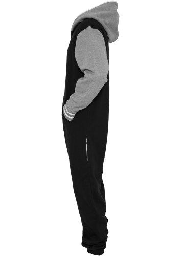 Urban Classics Herren Strampelanzug College Sweat Jumpsuit Weiss/Schwarz/Grau