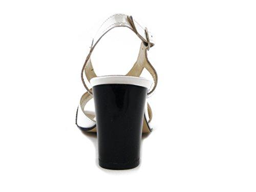 Osvaldo Pericoli Sandale En Cuir Glacé Blanc / Noir, Talon De 7cm. 6493 Blanc