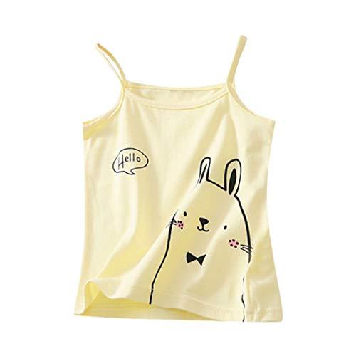 JUTOO Kinder Kinder Mädchen ärmellose Candy Farbe Weste T-Shirt Unterhemd Tops Kleidung (Gelb,140) (Boutique Kinder Rabatt Kleidung)