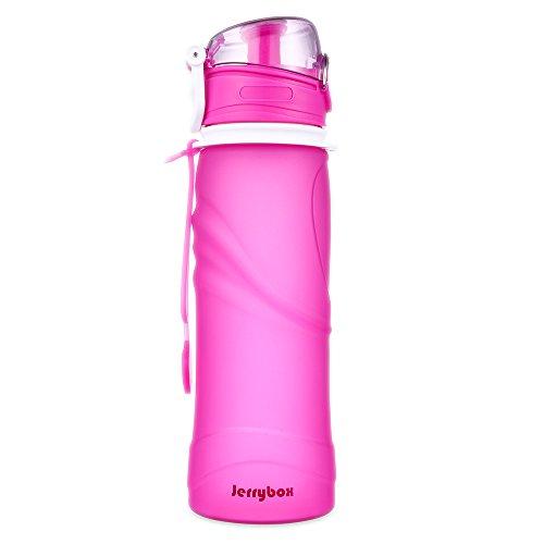 JerryBox Acqua Bottiglia Pieghevole Silicone - 750 ml, per uso medico, priva di BPA, approvata dalla FDA, bottiglia a perfetta tenuta in silicone pieghevole, ideale per lo sport, attività all'aperto, viaggio, campeggio, picnic - Viola
