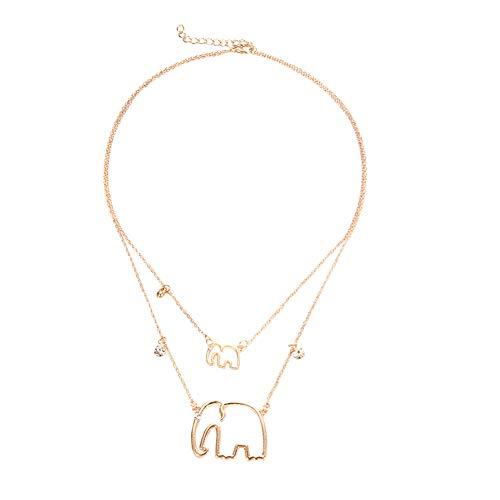 Youkara Anhänger Elefant Muster Mehrschichtige Halskette Kostüm Zubehör für Frauen Mädchen - Elefanten Kostüm Muster
