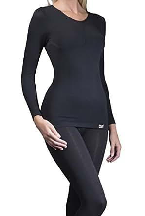 1 Nr Damen echte Original thermische warme Tog Wärmehalter Langarm-Unterhemd / T-Shirt - schwarz - Klein / Medium S / M
