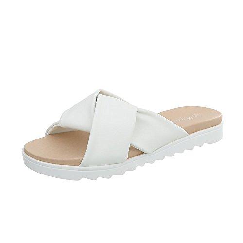 Ital-Design Pantoletten Damen-Schuhe Sandalen & Sandaletten Weiß, Gr 39, Yrt6728-