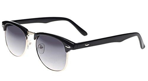 4sold Retro Clubmaster Sonnenbrillen mit 1/2 Rahmen und schwarz-goldenes Gestell, mit getoenten...