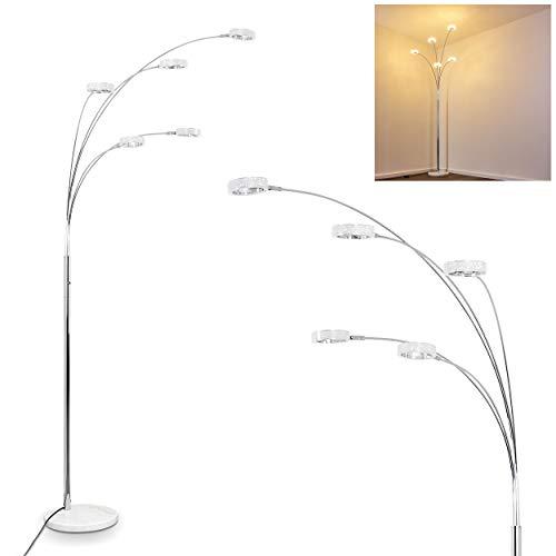 Stehleuchte LED Soppana – Standlampe LED 5-flammig im modernen Design – 3000 Kelvin warmweißes Licht – runde Leuchtenköpfe mit Glitzereffekt - Strahler sind beliebig dreh- und schwenkbar