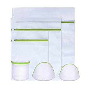 KYG Wäschenetz 6 Stück Wäschesack Set mitreißverschluss Wäschebeutel für Waschmaschine, Unterwäsche, Babywäsche , Strümpfe ,Socken USW Grün