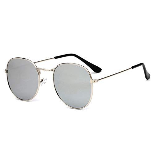 Taiyangcheng Runde Sonnenbrille Männer Metall Sonnenbrille Frauen Gafas De Sol De Los Hombres,Silber
