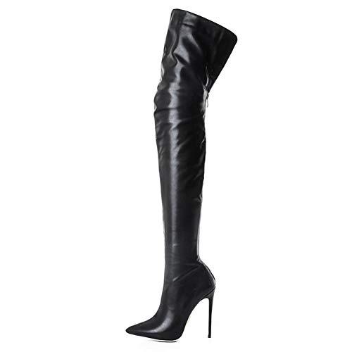 EleBoot Frauen Stiefel Original Schnee Spitzen PU Taktische Action Combat High Heels Formale Chunky Closed Toe (33-48 Größe), Black, 40