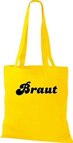 Shirtstown Stoffbeutel JGA Braut viele Farben gelb