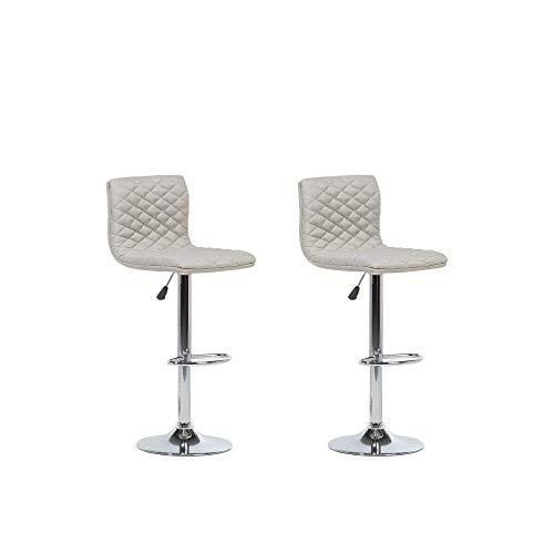 Lot de 2 chaises de Bar réglable en Tissu Beige Orlando