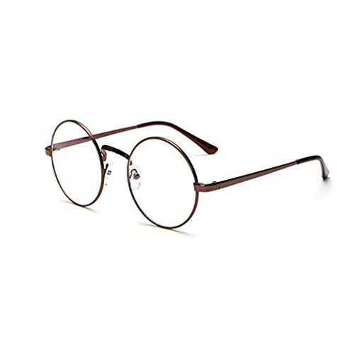 Dpolrs Unisex koreanische Weinlese-Brillen-runder Metallrahmen Brille-freies Objektiv-Augen-Glas-Zubehör