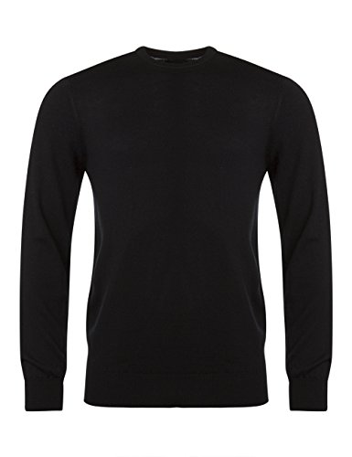 Mens Made In Scotland 100% Merino Plain Crew Neck Sweater