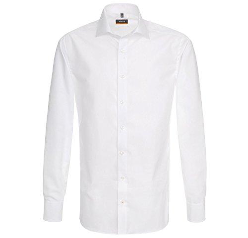 Spitzen-stretch-hemd (ETERNA Hemd Slim Fit Weiss Uni Kentkragen weiß Gr.38)