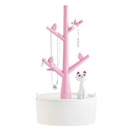 Foto de luoem caja de organizador de joyas pendientes soporte perchas anillos pulsera almacenamiento accesorio de diseño de gato