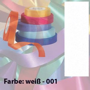 100m Seidenband, 15mm breit, Farbe: WEISS, Satinband, Schleifenband, Geschenkband (100% Seidenband)