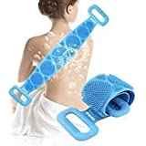 bb Double Side Shower Exfoliating Belt Removes Bath Towel body scrubber belt Silicone Body Back Scrubber(Blue)
