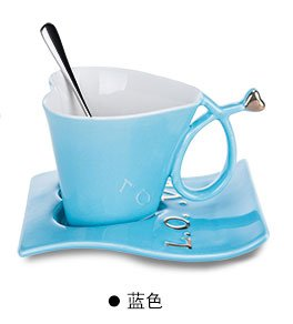 Bluelover Herzförmige Cup Kreative Keramik Paar Liebte Tasse Kaffee Mit Einem Löffel Und Einem Becherhalter-Blau