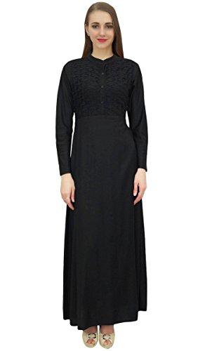 Bimba Frauen Mandarin Kragen Schwarz Jilbab Kleid mit Taschen voller Hülsen-54