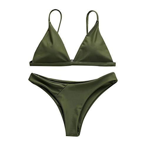 794ba444da Moonuy women Solid Bikini Push-Up Pad Swimwear Bathing Beachwear Set Ms.  Split Color Multi