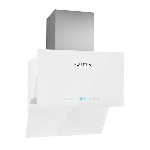 Klarstein Aurea VII campana extractora plana (195 W potencia, capacidad absorción 620m³/h, 60 cm, panel táctil, frontal vidrio, mando a distancia, temporizador, clase A) - blanco