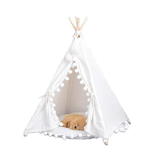 Tienda Perro Indio Plegable Tienda Perro De Mascota Gato De La Perrera (Tela de Algodon 100%) Blanco Nido Lavable Durable (Sin cojín)