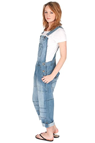 Damen Männer Latzhose Relaxed Fit Light Wash Denim Jeanslatzhosen Jeans-Latzhose