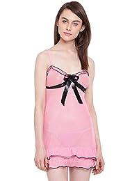 003f287a9c8 N-Gal Women s Triangle Strap with Satin Bow Detailed Ruffle Edge Bridal  Babydoll Dress Nightwear