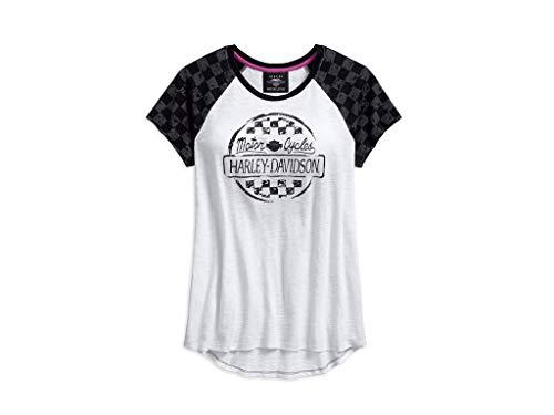 Harley Davidson T-Shirt Checkered Raglan, XL-Lady - Womens Harley Davidson