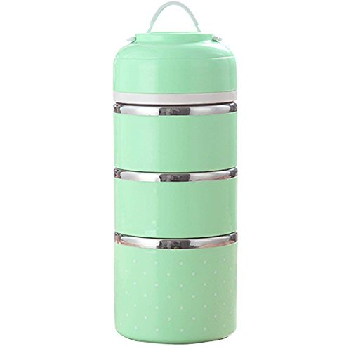 Isolierung THERMO-Lunchbox Edelstahl Lebensmittel Container tragbar Bento Box mit Griff 3Schichten grün