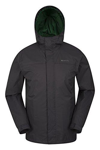Mountain warehouse giacca da uomo torrent - cappotto impermeabile, cappotto leggero, capospalla con cuciture nastrate, giacca casual con due tasche con zip - da viaggio grigio scuro large