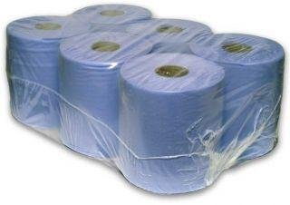 6 Pack 2 Ply Embossed Centre Feed Paper Wipe Rolls