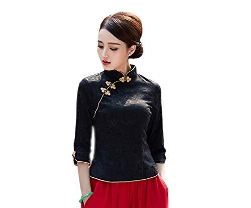 Yue Lian Damen Frauen Frühling Sommer Cheongsam Stil Oberhemd Schirt Bluse (EU:38-China:XL)